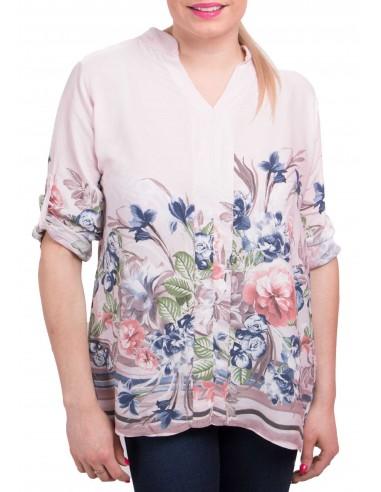 Tunique à fleurs type blouse été femme fleurie décolleté en V & manches ajustables