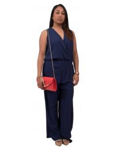 Combinaison femme fluide bleu marine sans manche décolleté en V et lacets