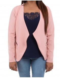 Blazer rose poudré type veste rose femme légère avec poches zip dorés