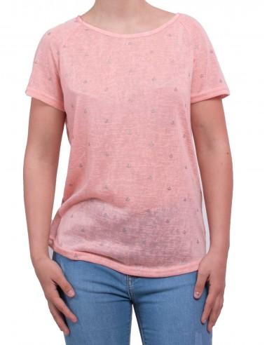 T-shirt femme motif ancre marine pailletée à manches courtes & noeud fantaisie divers coloris