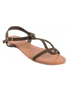 Sandales kaki effet tressé type sandales nus pieds femme en simili daim