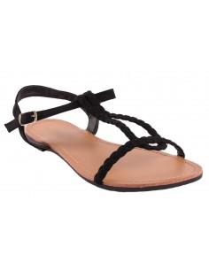 Sandales noir tressées type sandales nus pieds femme en simili daim noir