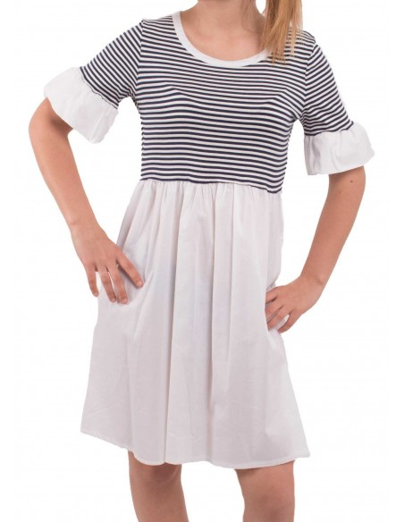 Robe marinière bi-matière mi longue à volants type robe à rayures marine