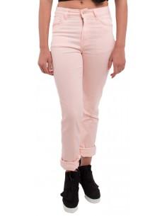 Jean femme rose clair coupe droite & taille haute type jean stretch avec revers chevilles amovibles