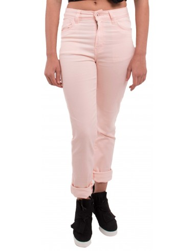 Jean rose clair coupe droite & taille haute type jean stretch avec revers chevilles amovibles