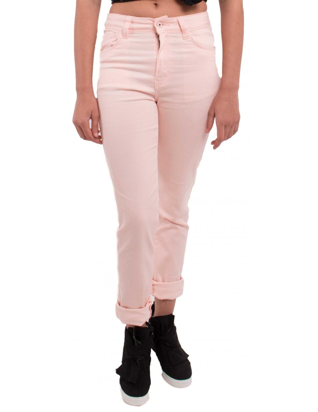 jean rose clair coupe droite taille haute type jean stretch avec revers. Black Bedroom Furniture Sets. Home Design Ideas
