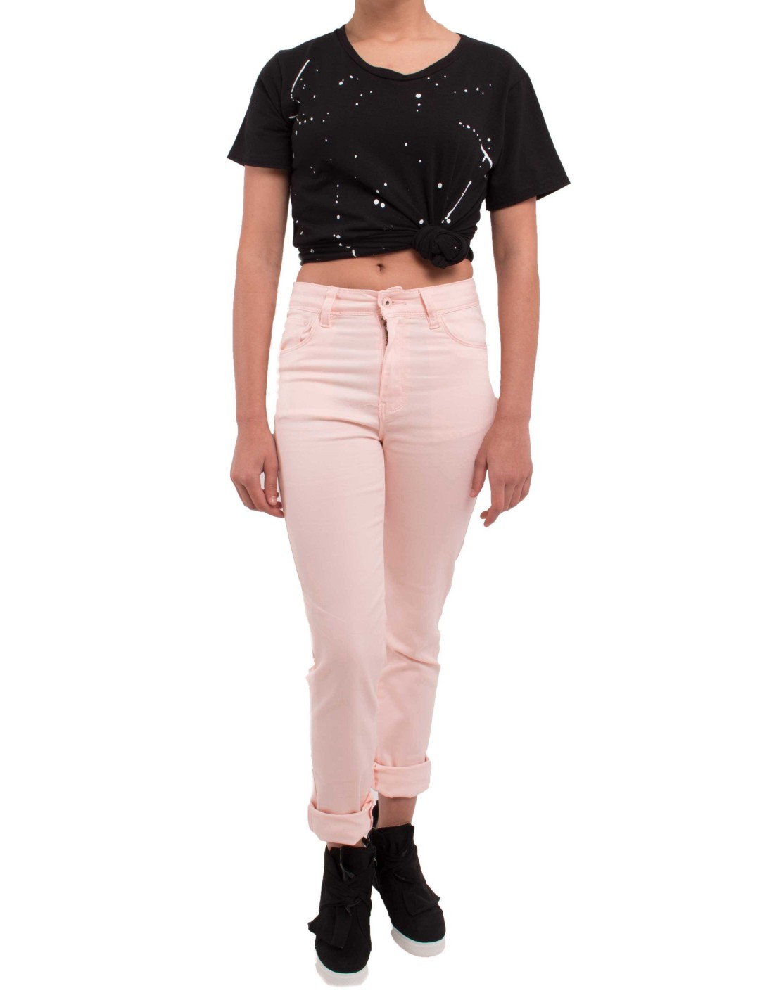 Jean rose clair coupe droite taille haute type jean - Jeans femme taille haute coupe droite ...