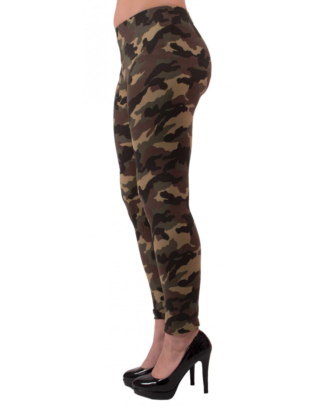 Legging militaire femme kaki caleçon camouflage