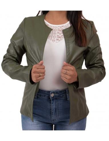 Veste perfecto kaki femme type veste légère kaki en simili cuir