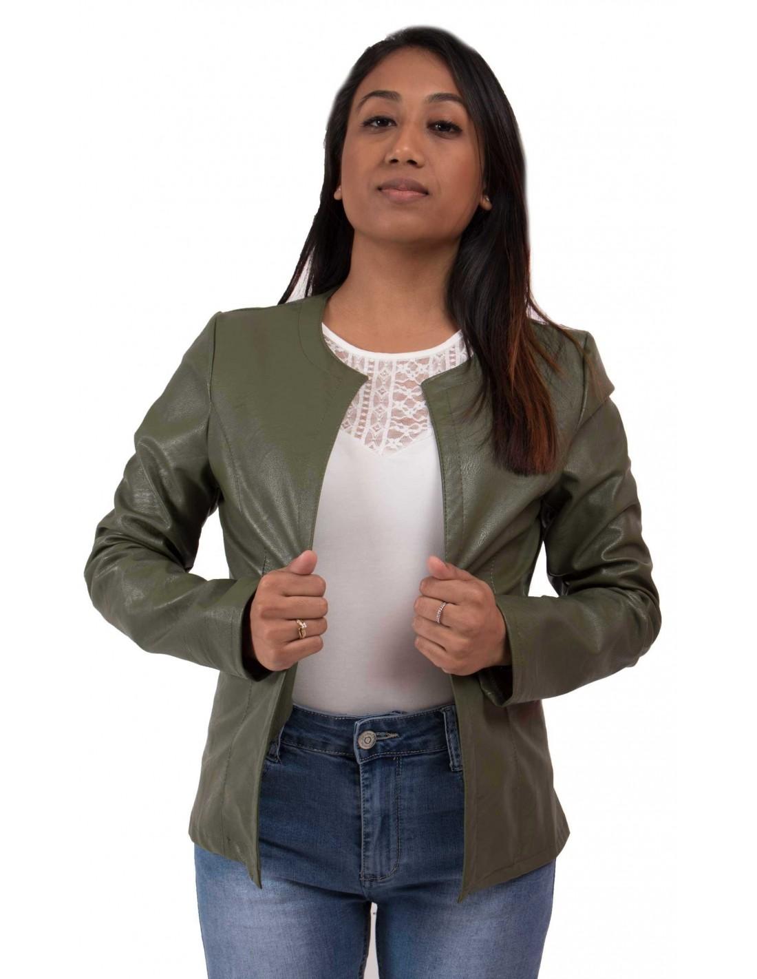 Exceptionnel perfecto kaki femme type veste légère kaki en simili cuir DM62