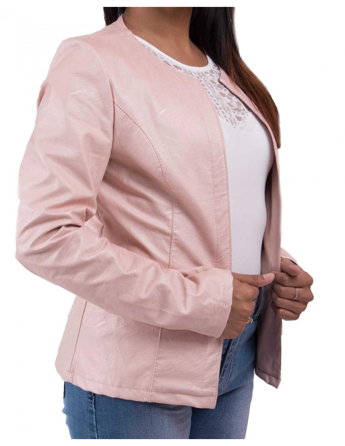 blouson simili cuir rose femme les vestes la mode sont. Black Bedroom Furniture Sets. Home Design Ideas