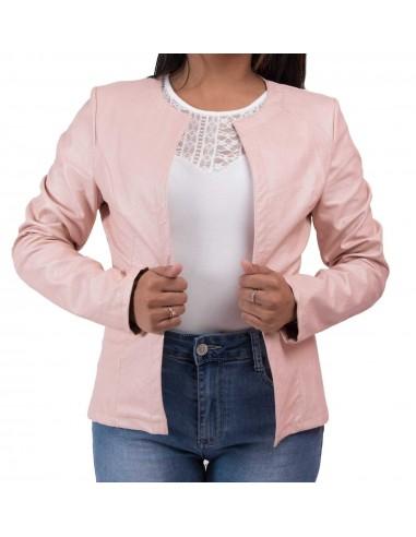 Veste perfecto rose clair femme type veste légère rose en simili cuir