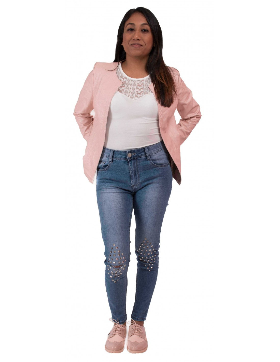 large choix de couleurs à vendre prix pas cher Veste perfecto rose clair femme type veste légère rose en ...