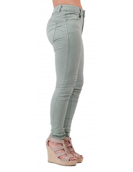 Jean skinny vert clair femme taille haute type jean skinny stretch