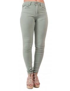 Jean slim femme  vert clair taille haute en stretch