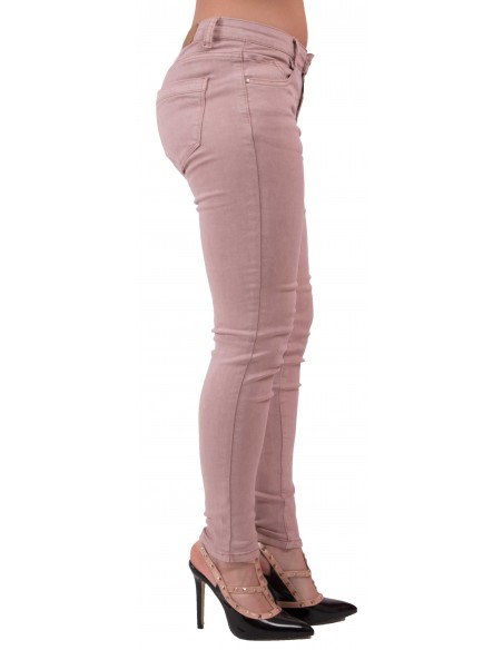 Jean skinny rose effet vieux rose pour femme taille haute type jean slim stretch