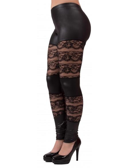 Legging noir aspet cuir & dentelle type legging sexy dentelle et vinyl