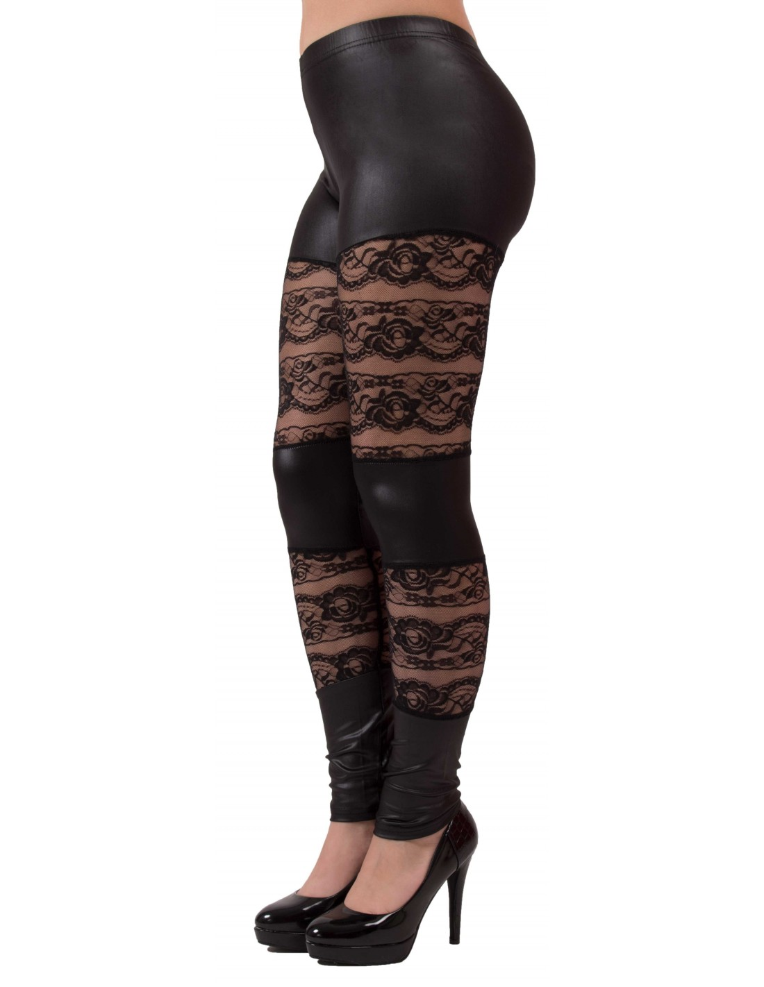 ... Legging noir aspet cuir   dentelle type legging sexy dentelle et vinyl  ... bfca460a7b0
