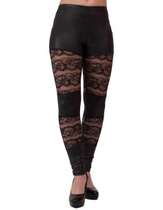 Legging sexy dentelle noir vinyle aspect cuir