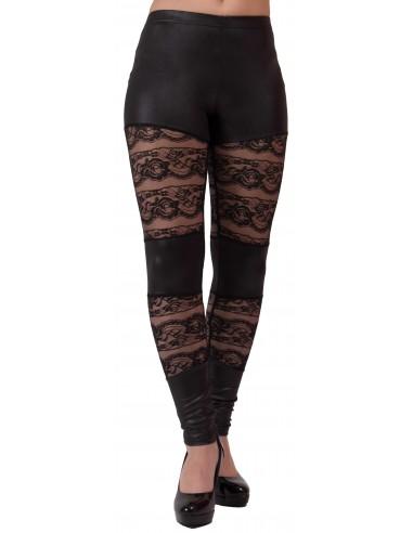 Legging noir aspet cuir   dentelle type legging sexy dentelle et vinyl 8f6fad373dd