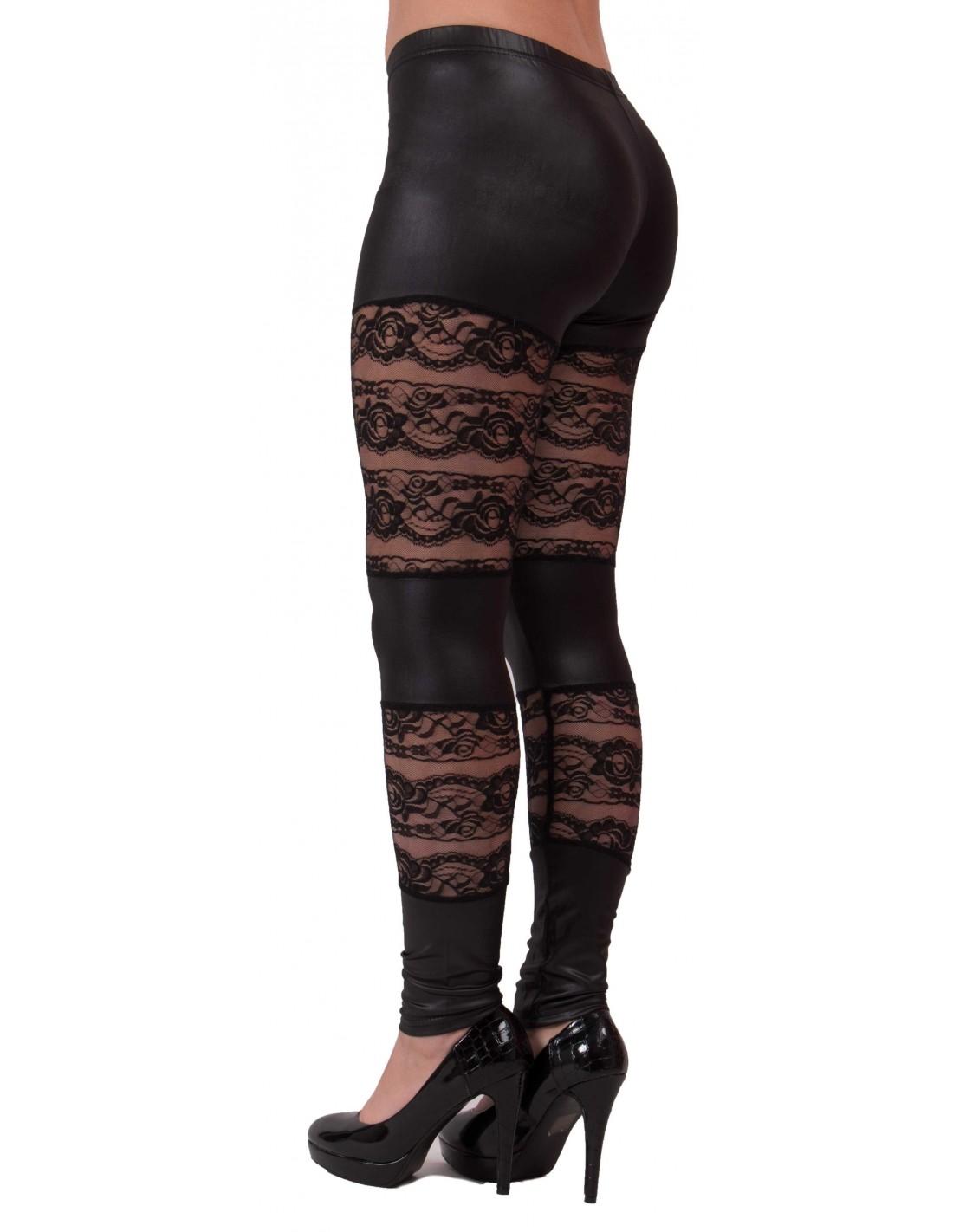 ... Legging noir aspet cuir   dentelle type legging sexy dentelle et vinyl 093aa70ca16