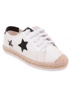 Baskets femme blanches motif étoiles noires en simili cuir style baskets espadrilles avec corde