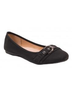 Ballerines noir grandes tailles  simili cuir 41 - 44 semelle intérieure cuir & boucle fantaisie