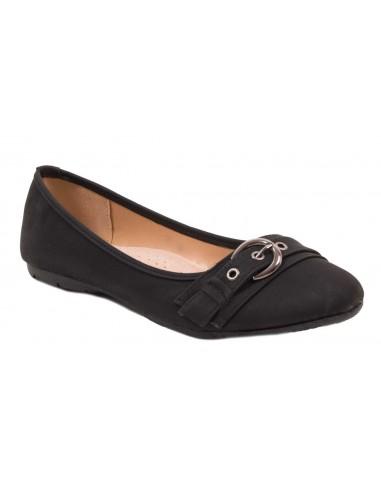 Ballerines noir simili cuir grandes pointures femme 41 - 44 semelle intérieure cuir & boucle fantaisie
