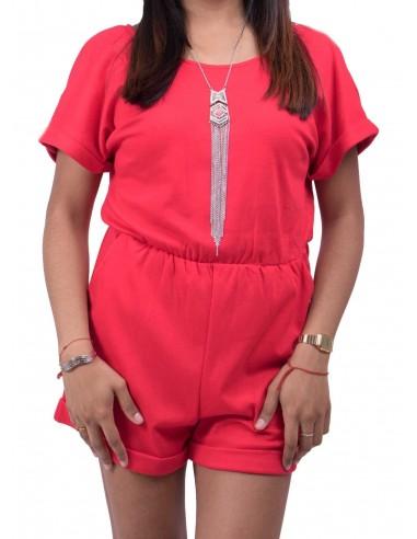 Combi short coton femme unie type combishort de plage divers coloris