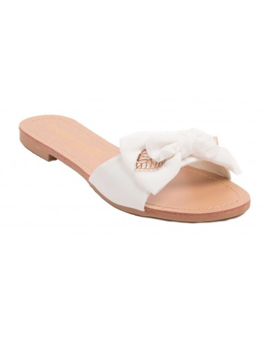 Claquette femme mule semelle interieur cuir noeud tissu et feuilles dorées chaussure été femme pas cher