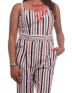 Combinaison femme à rayures rouge et bleu type combinaison pantalon sexy d'été
