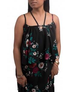 Robe longue à fleurs & fines bretelles type robe d'été longue imprimé floral