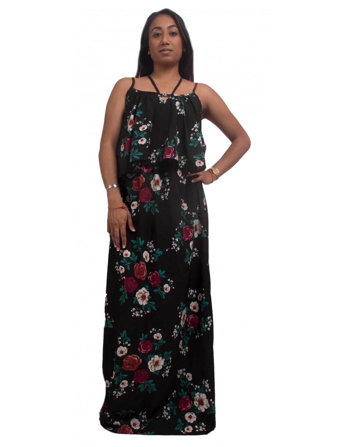 robe longue fleurs fines bretelles type robe d 39 t longue. Black Bedroom Furniture Sets. Home Design Ideas