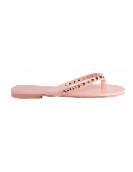 Tong rose à clous dorés type sandale femme à clous