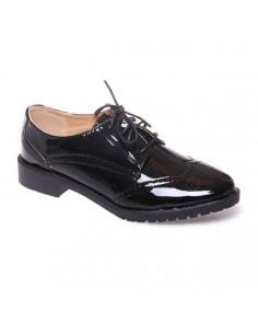 Derbies Derby noir simili cuir vernis grandes pointures femme 41,42,43,44