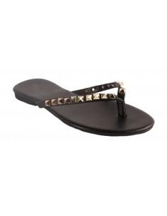 Tong à clous noir type sandales cloutées femme coloris noir