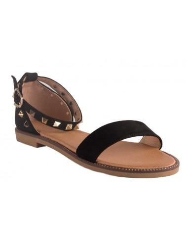 Sandales noir à clous dorés type sandales été femme cloutées en suédine