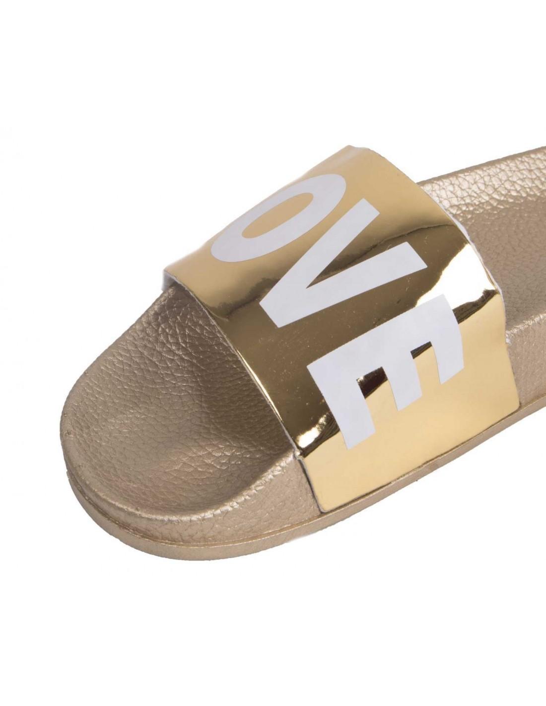 810f30a52637e Claquette LOVE dorée type mule femme doré chaussure été femme