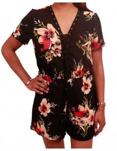 Combi-short à fleurs avec décolleté lacets type combinaison de plage fleurie
