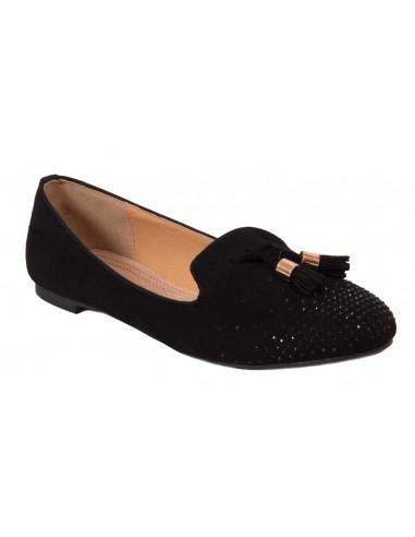 99236b258105d Ballerine noir strass grande pointure femme 41 - 44 style mocassins noirs à  pampilles