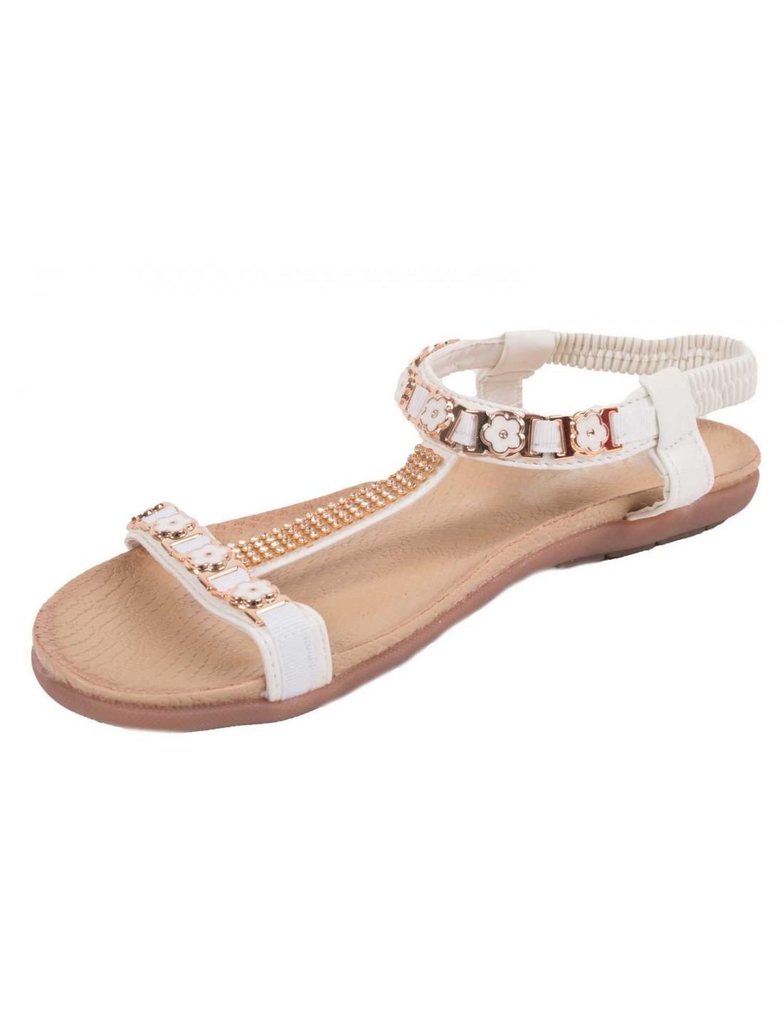 43 Et Fleur Femme Grande Blanche Taille Sandale Strass 41 42 44 eWQrdoxECB