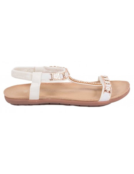 Sandale blanche strass femme grande taille pointure 41 à 44 avec fleur fantaisie