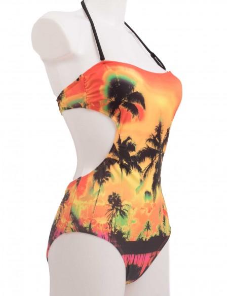 Maillot de bain une pièce Trikini Femme motif palmier orange Bleu