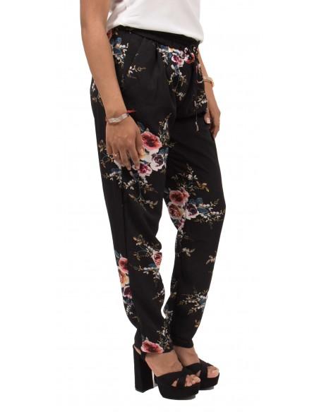 Pantalon fluide noir à fleurs pour femme
