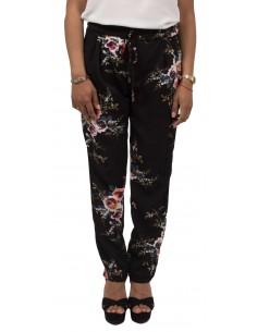 Pantalon femme fluide fleuri noir ou bleu marine