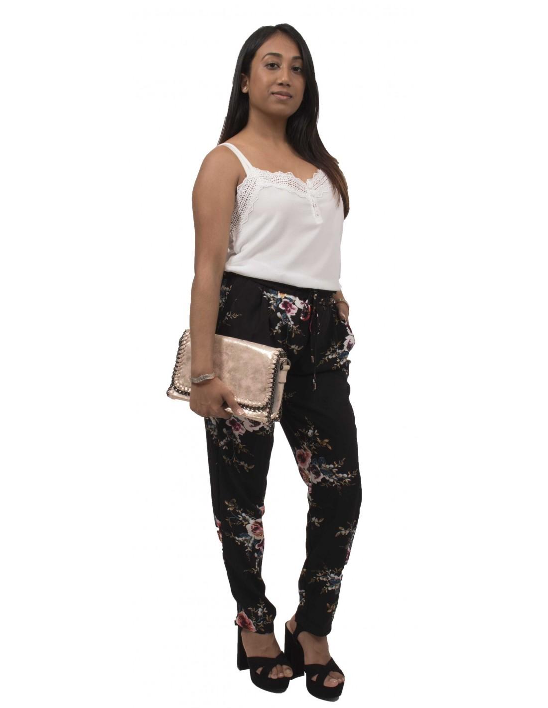 pantalon femme fluide imprim fleurs noir ou bleu marine ample. Black Bedroom Furniture Sets. Home Design Ideas
