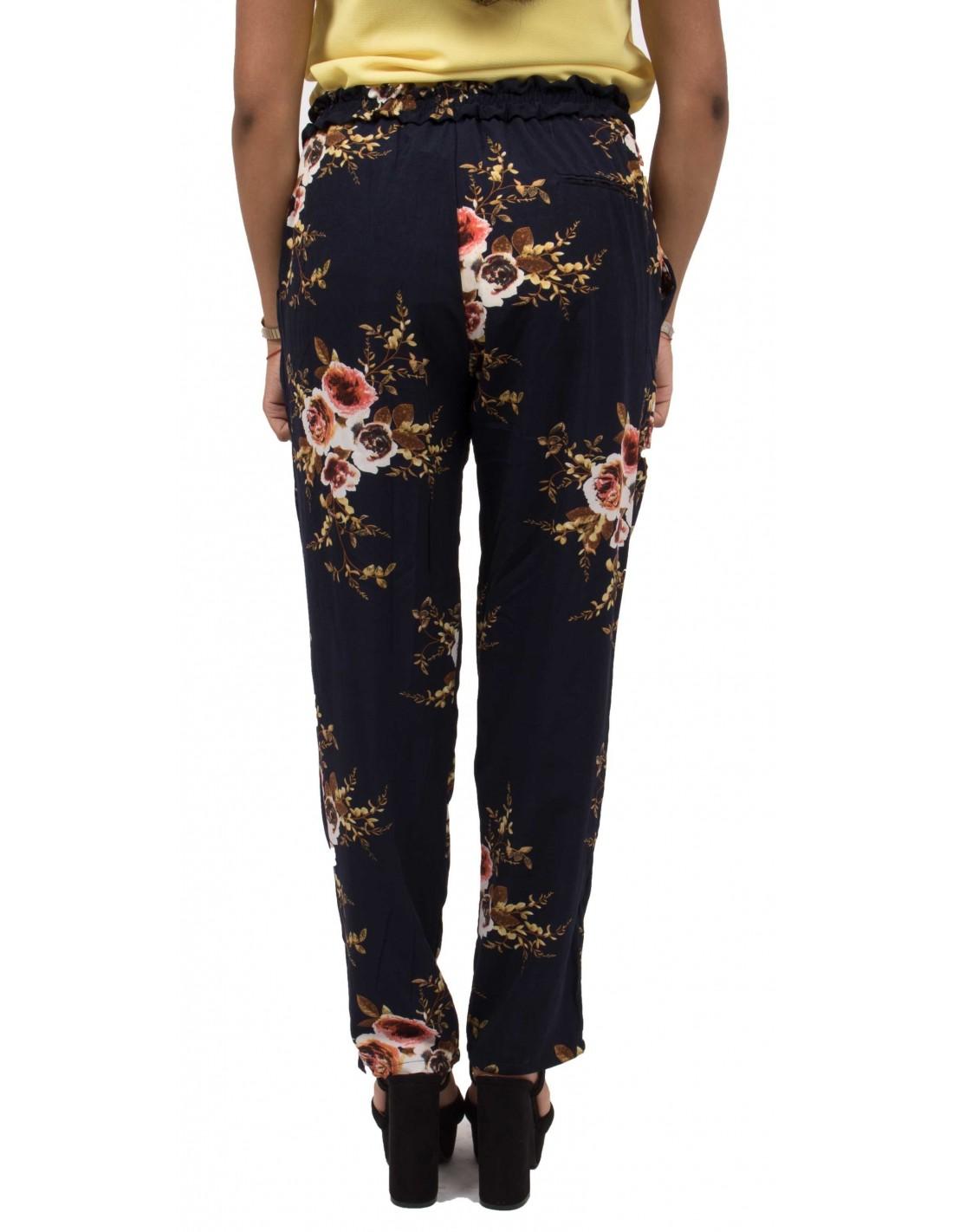 Pantalon Femme Fluide Imprime Fleurs Noir Ou Bleu Marine Ample