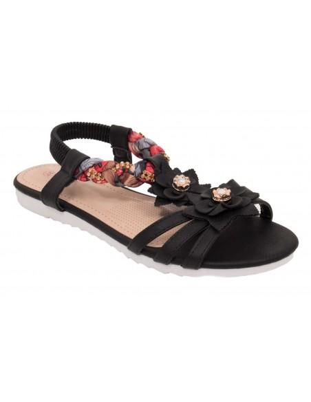Sandale femme noir à fleurs en simili cuir semelle confort