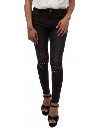 Jean noir à clous troué coupe slim stretch & taille haute