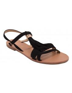 Sandales à franges noir en simili daim et dorure